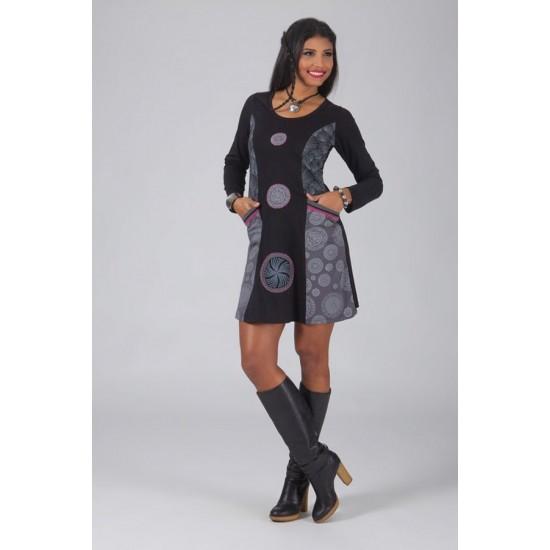 Bombažna obleka z vzorcem